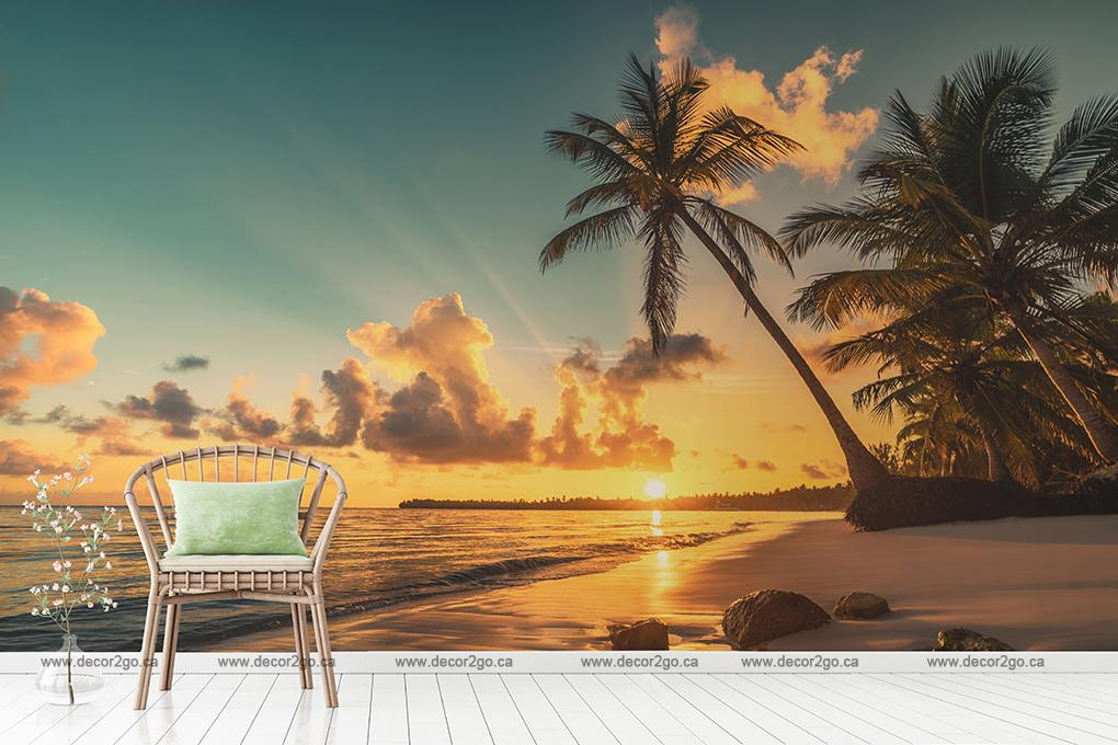 Cancun, Beach, Sea, , Sunset, Mural, Wallpaper
