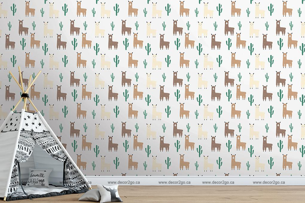 Alphaca, Seamless, Mural, Wallpaper Mural, Wallpaper, Murwall Kids Wallpaper For Child Wall Mural Cartoon Nursery Wall Decor Girls Bedroom Boys room Babyroom