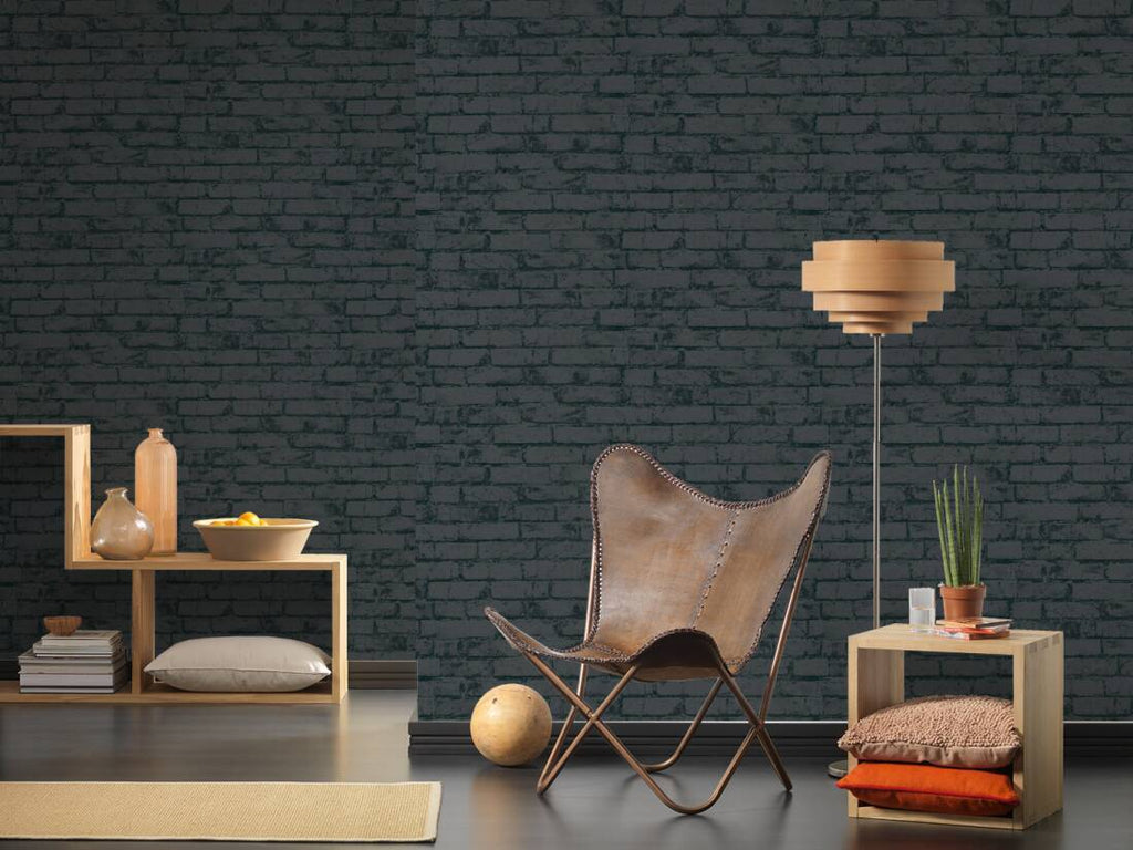 Michalsky High Rise, stone, bricks, black, 9078-82, wallpaper, AS-CREATION