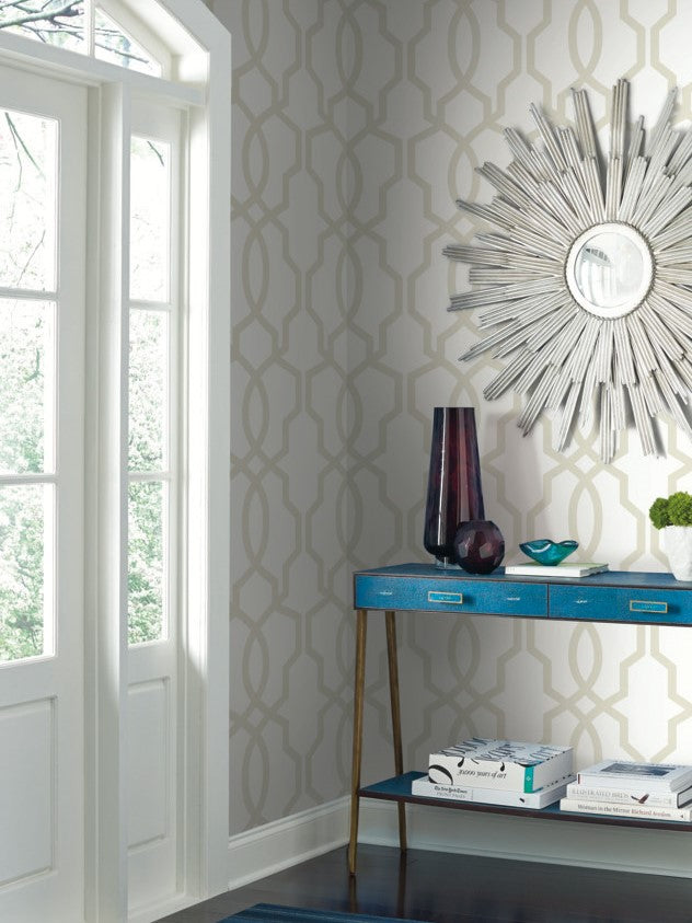 York Wallcoverings, York Wallpaper, SureStrip, Removable Wallpaper, Temporary Wallpaper, Easy Wallpaper, Wallcovering, Wall Covering, Ashford House Wallpaper, Ashford White Wallpaper,SW7497,Hourglass Trellis
