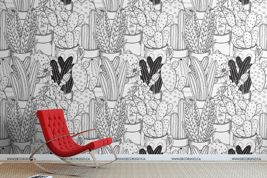Playful, Graphic, Cartoon, floral, Set, Cactus, Cacti, Cactuses, Black, and, White, Layers, CollageMural, Wallpaper, Murwall Kids Wallpaper For Child Wall Mural Cartoon Nursery Wall Decor Girls Bedroom Boys room Babyroom