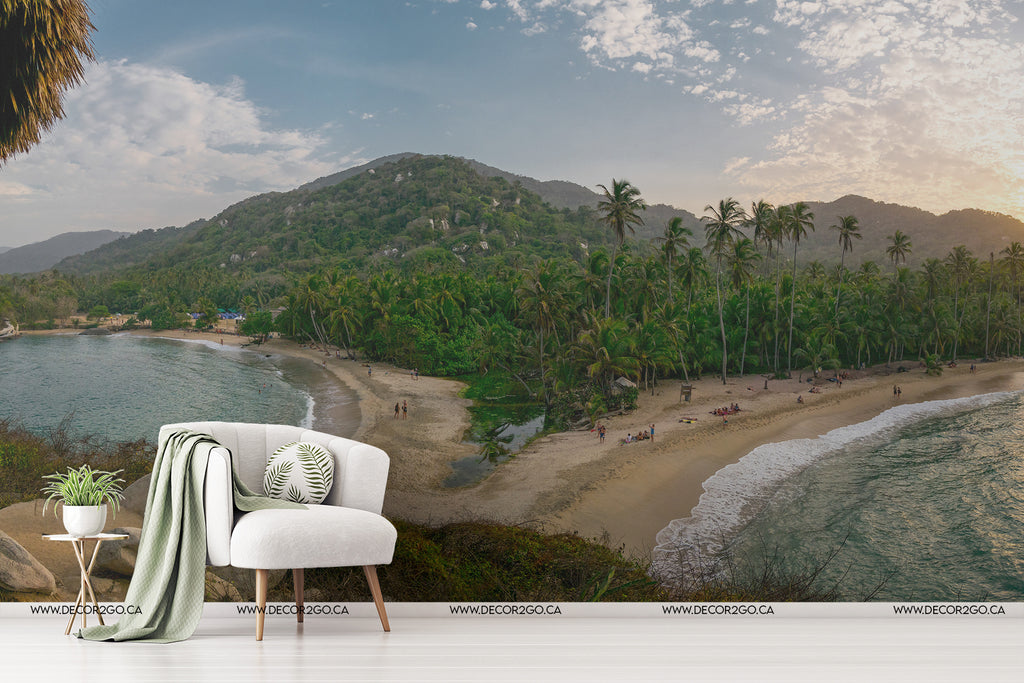 Palms sand and sea the best beach view sunset mountains landscape mural decoration walls