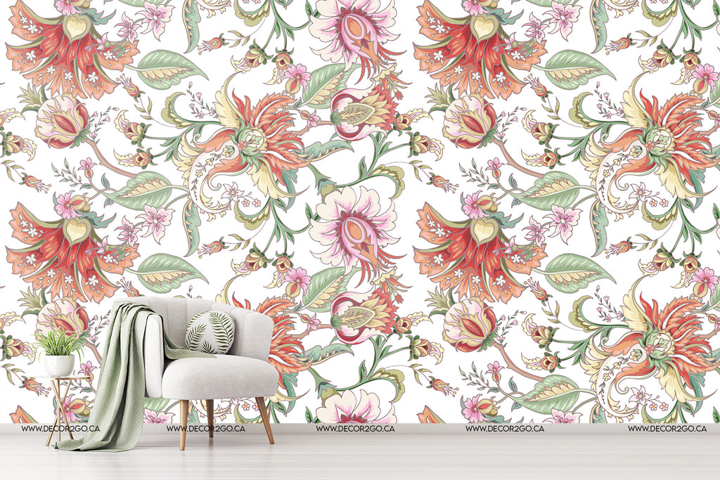 Tropical flowers wallpaper mural decoration retro vintage unique red and pink