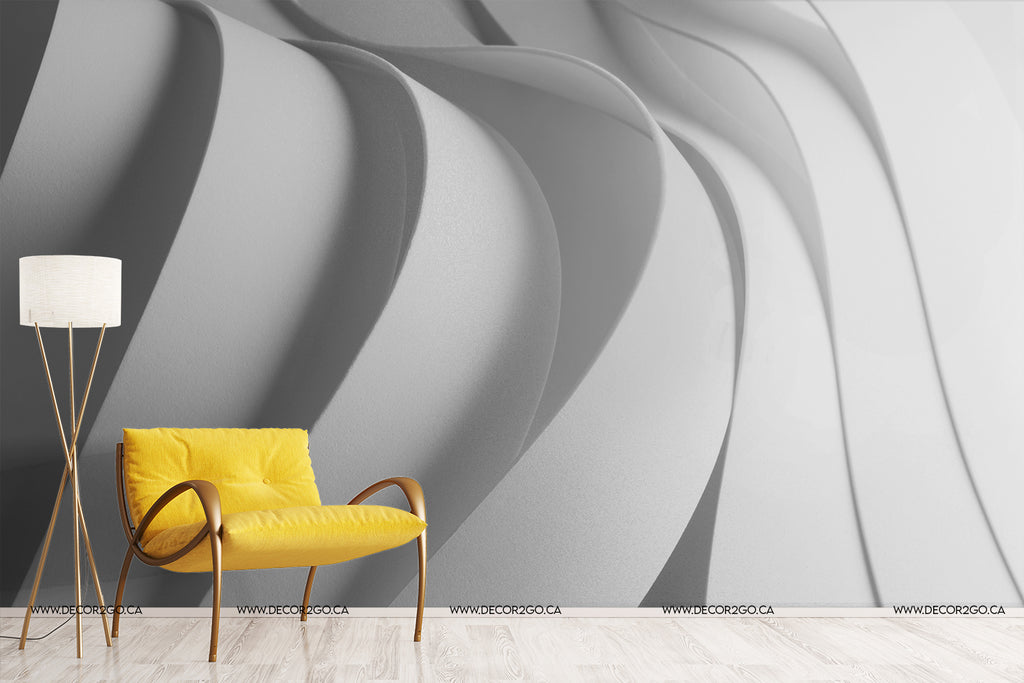 white 3d strips effect unique contrast and view wallpaper mural decoration