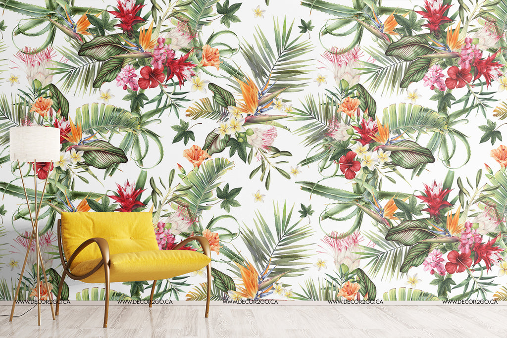 Tropical, floral, palm, flower, ginger lily, heliconia, bird of paradise, salvia, wallpaper, mural, decor2go, Winnipeg, installation, wall, decoration, ideas