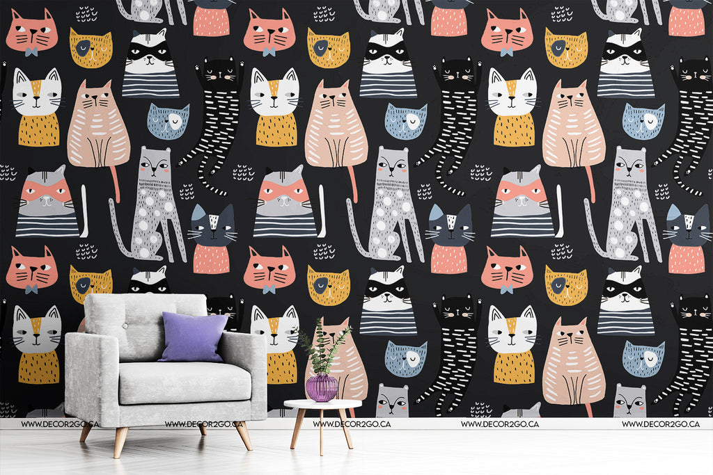 Kittens in different style. Creative childish texture