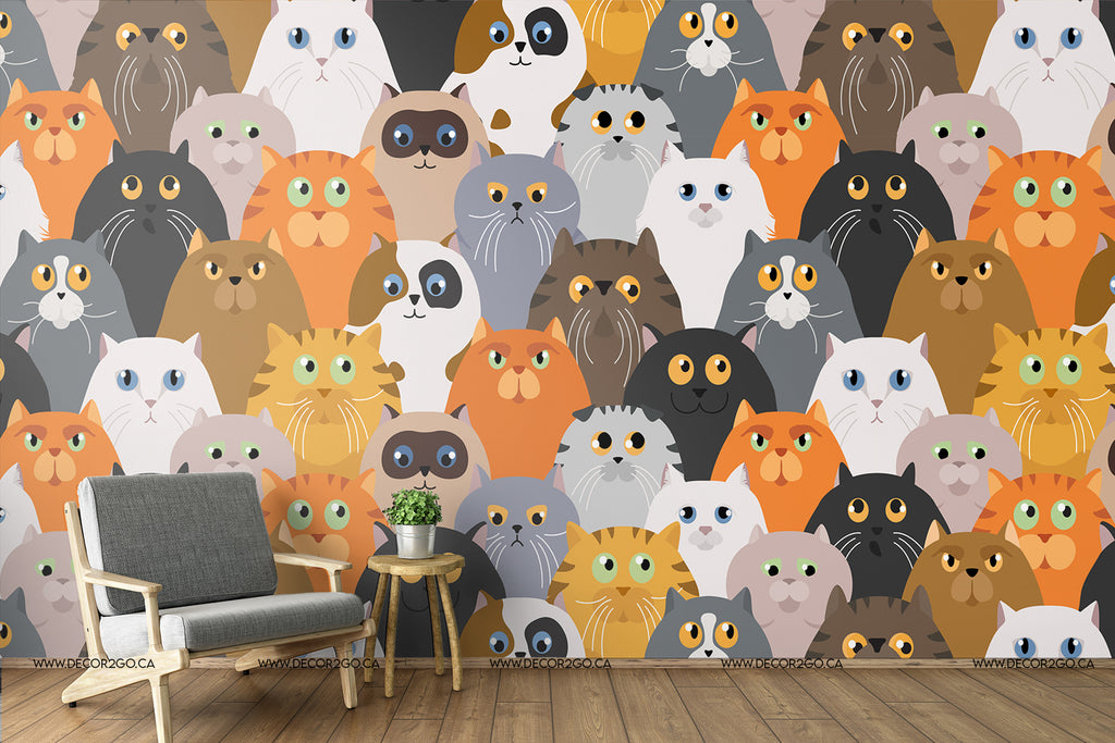 Mural, Wallpaper, Murwall Kids Wallpaper For Child Wall Mural Cartoon Nursery Wall Decor Girls Bedroom Boys room Babyroom, cats, animals, colors