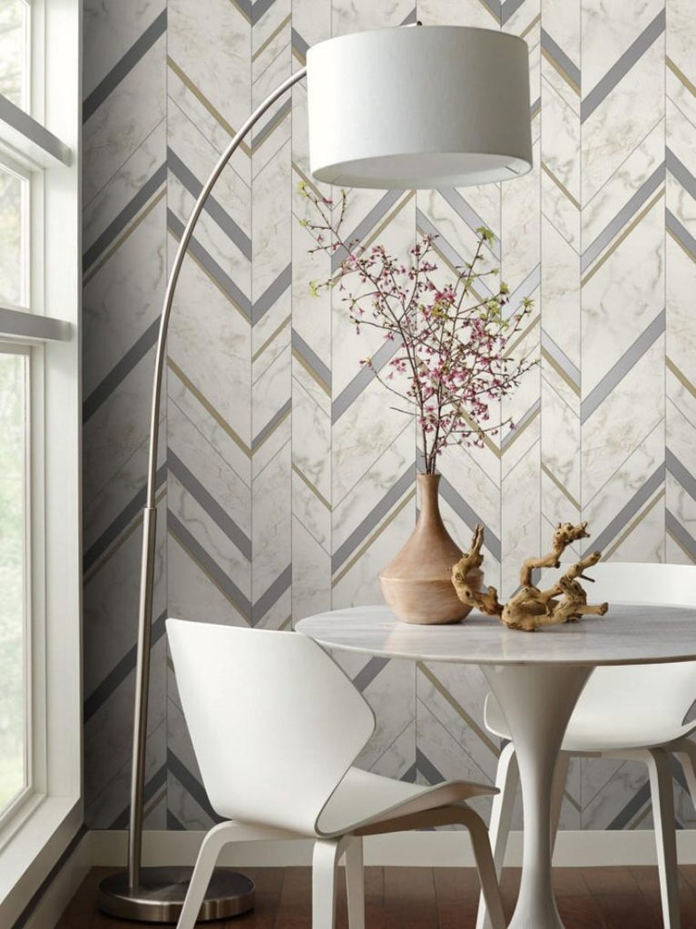 York Wallcoverings, York Wallpaper, Non Woven Wallpaper, Nonwoven Wallpaper, Removable Wallpaper, Easy Wallpaper, Wallcovering, Wall Covering, Mixed Materials Wallpaper, York Wallcoverings Mixed Materials, Chevron Wallpaper, Marble Wallpaper,MM1803,Marble Chevron