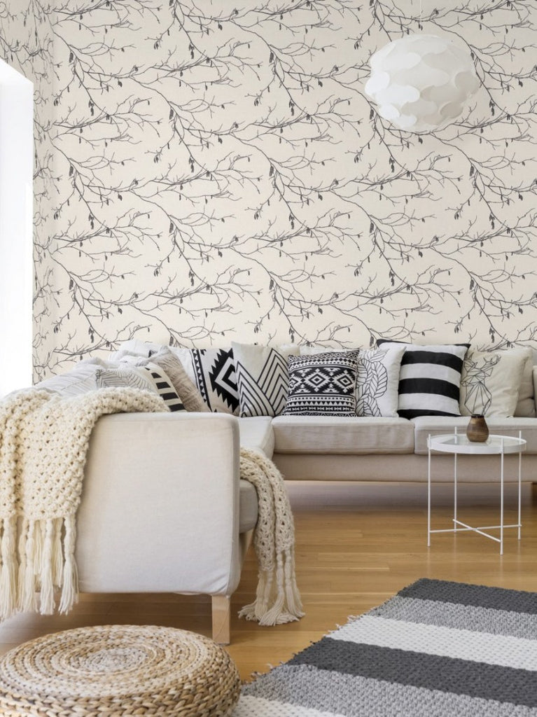 York Wallcoverings, York Wallpaper, SureStrip, Removable Wallpaper, Temporary Wallpaper, Easy Wallpaper, Wallcovering, Wall Covering, Norlander, Scandinavian wallpaper, Branch Wallpaper,NR1524,Winter Branches Wallpaper