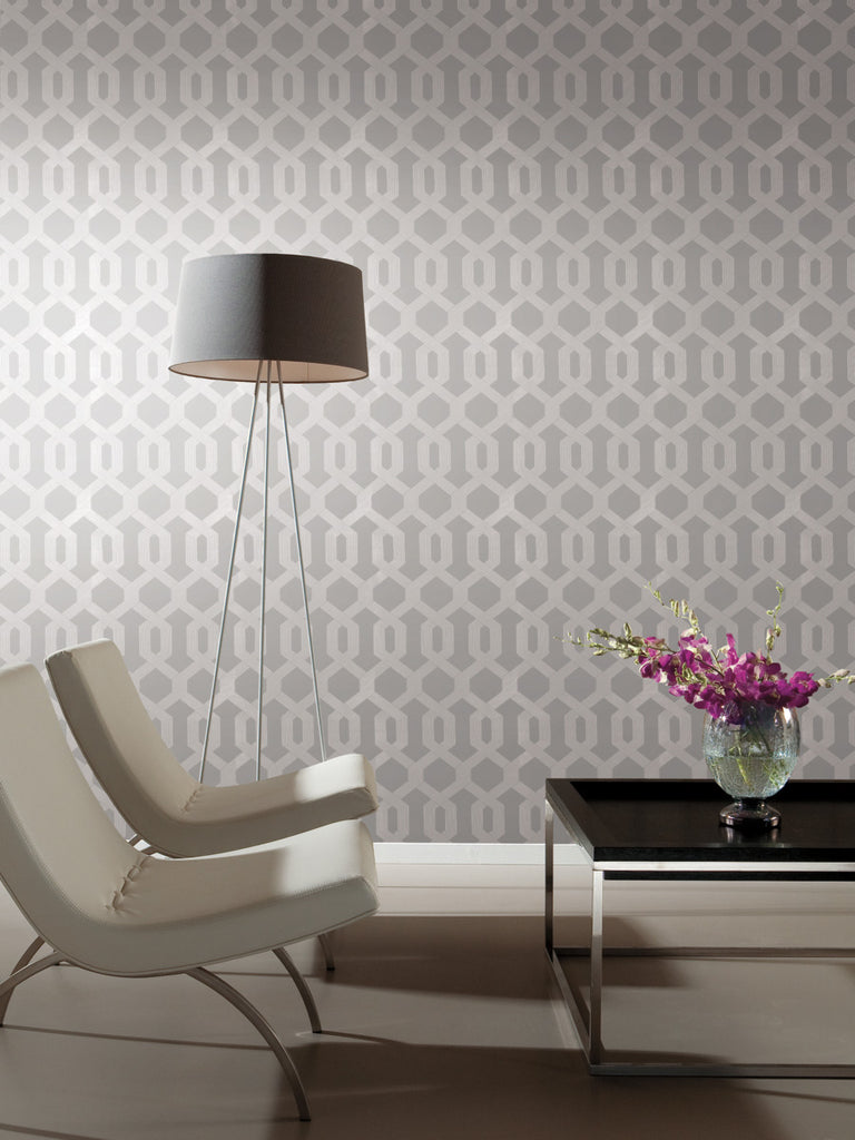 York Wallcoverings, York Wallpaper, Non Woven Wallpaper, Nonwoven Wallpaper, Removable Wallpaper, Easy Wallpaper, Wallcovering, Wall Covering, Mid Century, Mid Century Wallpaper ,Y6221204,Viva Lounge Wallpaper - Grey/Silver