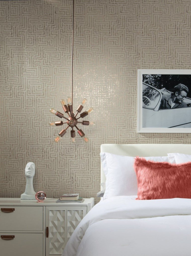 York Wallcoverings, York Wallpaper, Non Woven Wallpaper, Nonwoven Wallpaper, Removable Wallpaper, Easy Wallpaper, Wallcovering, Wall Covering, Mid Century, Mid Century Wallpaper ,Y6220202,A-Maze Wallpaper - Glint/Cream