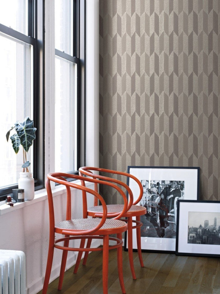 York Wallcoverings, York Wallpaper, Non Woven Wallpaper, Nonwoven Wallpaper, Removable Wallpaper, Easy Wallpaper, Wallcovering, Wall Covering, Mid Century, Mid Century Wallpaper,Y6220105,Cosmopolitan Wallpaper - Dark Oyster