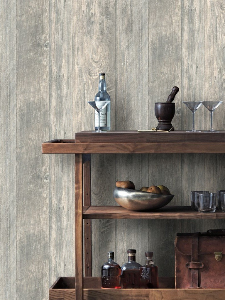 York Wallcoverings, Sure strip, prepasted, wood, rustic, grey, LG1321, Rough Cut Lumber, Rustic Living