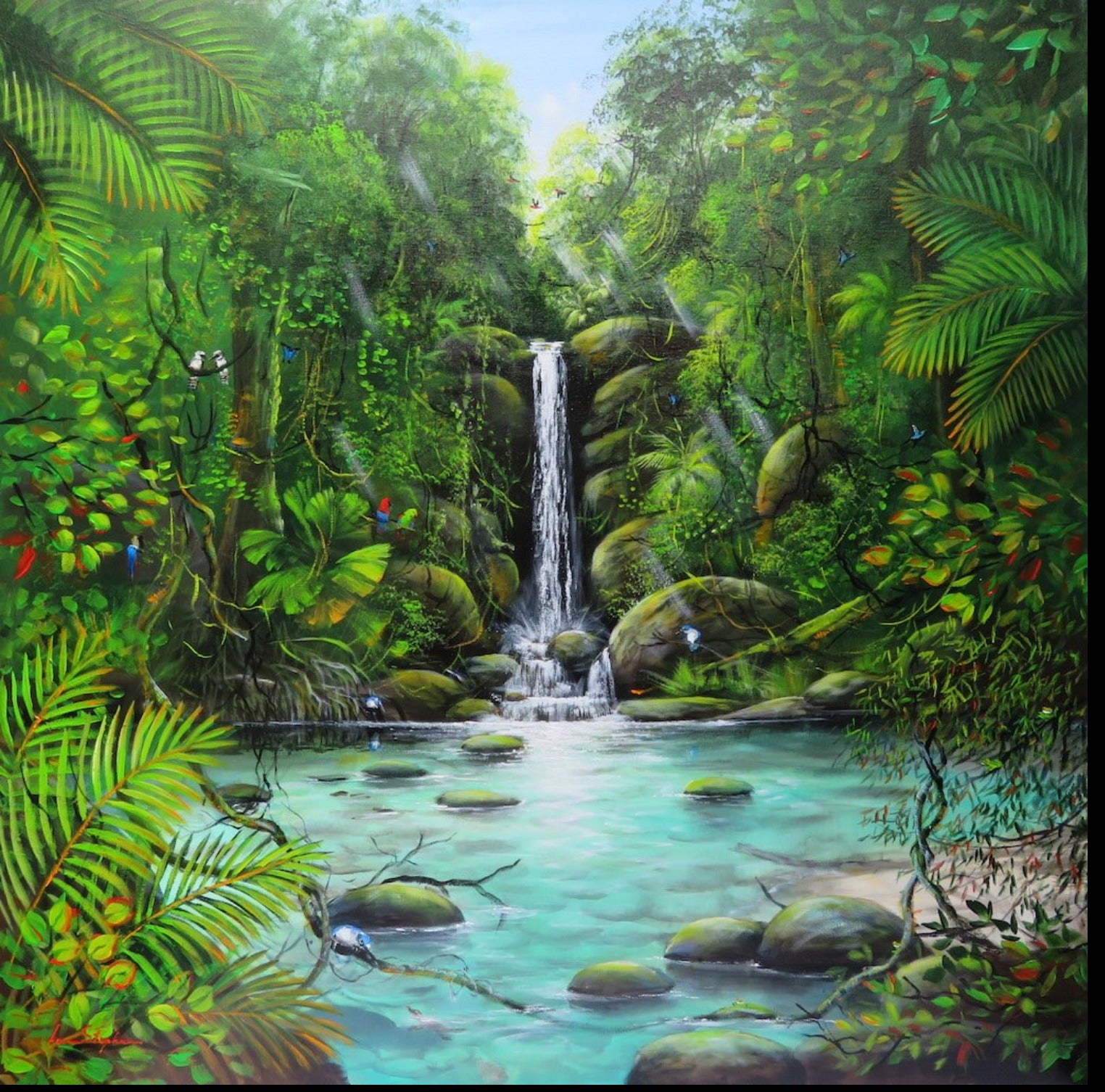 Ian Stephens Original Acrylic Painting 900 x 900mm - Kingfisher Watching the Platypus by the Waterfall - Australian Tropical Flora and Fauna