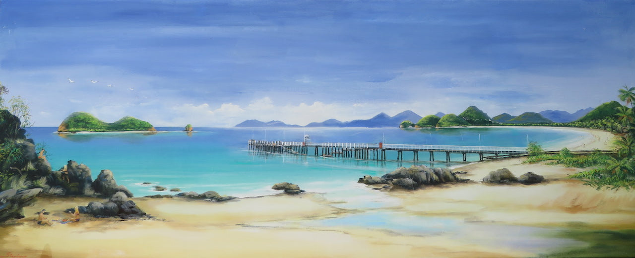 Ian Stephens Original Acrylic Painting 400 x 1200mm - Palm Cove Panorama - Tropical Far North Queensland - Sold out.