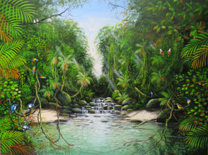 Ian Stephens Original Acrylic Painting 900 x 1200mm - Platypus in the Cascades - Tropical Far North Queensland, Tropical Flora and Fauna, Daintree Rainforest