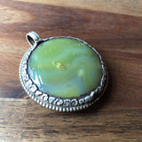 Green Agate and Tibetan Silver Pendant