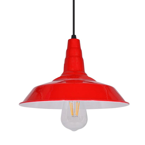 lustre industriel rouge