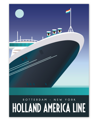 Postcard Rotterdam Holland America Line Cuise Ship