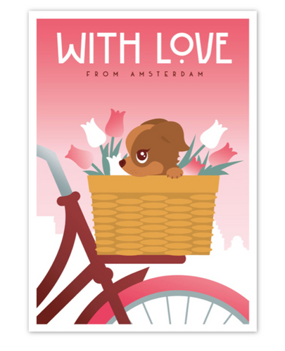 Postcard Amsterdam With Love Doggie Bike Basket with Tulips