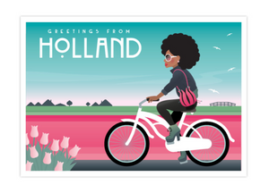 Postcard Holland Afro Bike Girl Tulipfields Keukenhof Dike Dutch Landscape