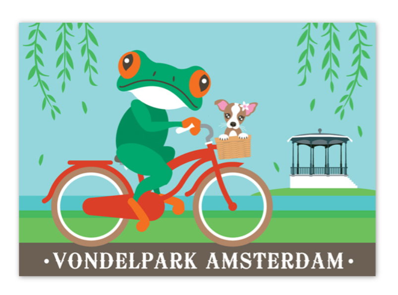 Postcard Amsterdam Vondelpark Frog on Bike