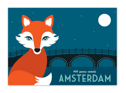 Postcard Amsterdam Canal Fox 400 Year Anniversary Amsterdam Canal District