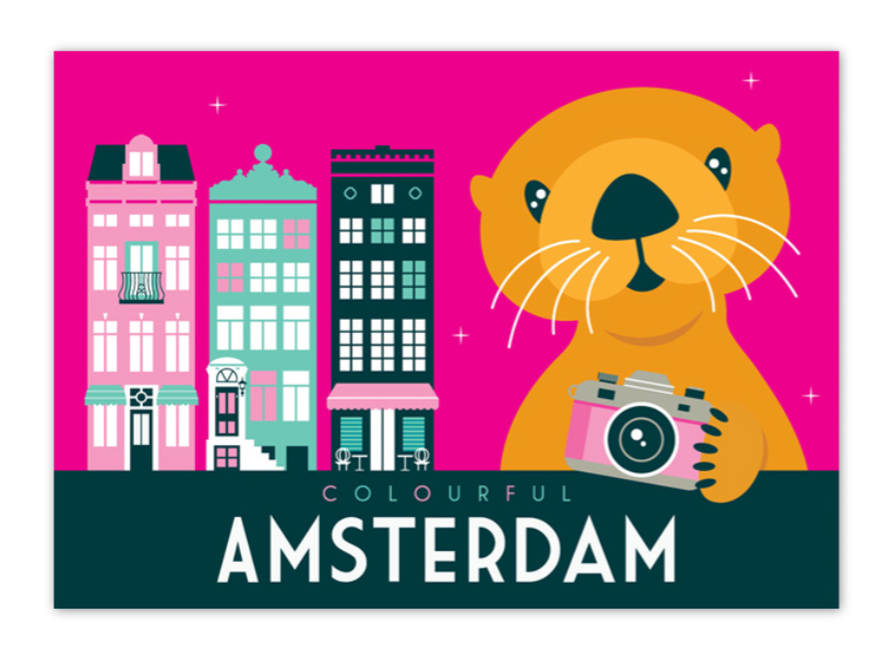 Postcard Amsterdam Colourful Otter Red Light District