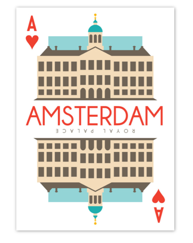 Postcard Amsterdam Royal Palace Dam Square Playing Card Ace