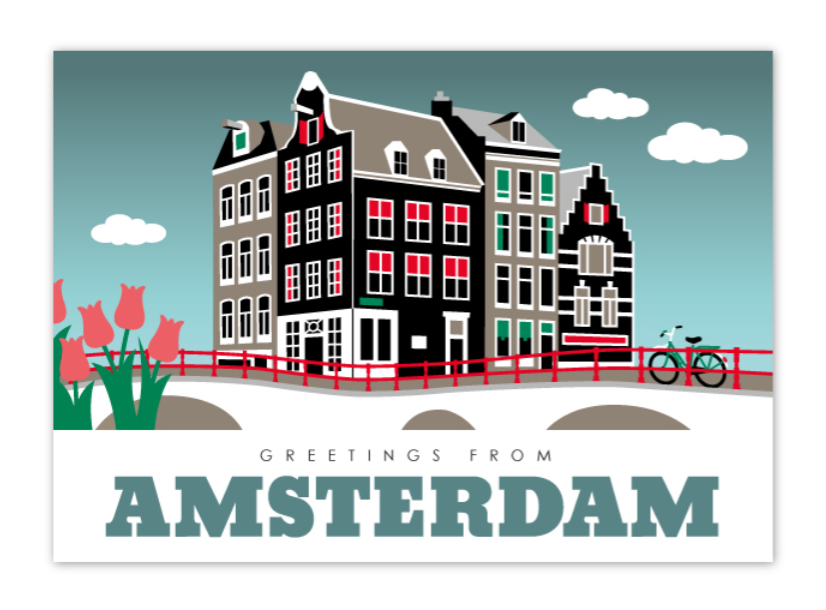 Postcard Amsterdam Canal Houses Leidsegracht Canal District Bridge Tulips