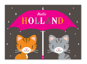 Postcard Holland Hallo Umbrella Cats in the Rain