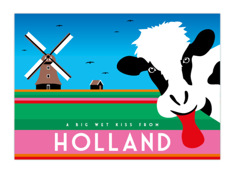 Postcard Holland Cow Windmill  Big Wet Kiss From Holland