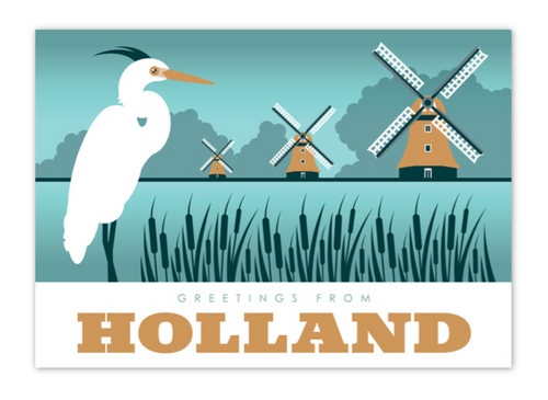 Postcard Holland Heron Reiger Windmills Greetings From Holland