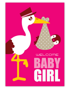 Postcard Welcome Baby Girl