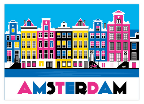 Postcard Amsterdam Colorful Canal Houses Herengracht Keizersgracht Prinsengracht Canal District