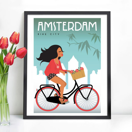 Poster Amsterdam Bike Girl Basket with Tulips