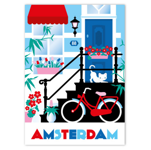 Poster Amsterdam Canal House Steps Bike Cat Tulips