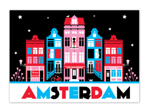 Postcard Amsterdam Canal Houses Red Black Nieuwmarkt