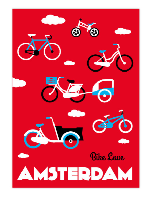 Postcard Amsterdam Bikes Red Bike Love