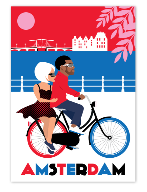Postcard Amsterdam Happy Couple on Bike Amstel River Skinny Bridge