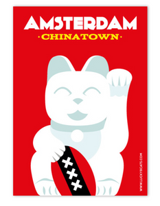 Postcard Amsterdam Chinatown Lucky Cat