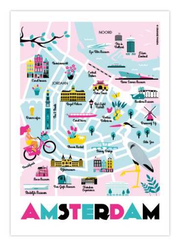 Postcard Amsterdam City Map