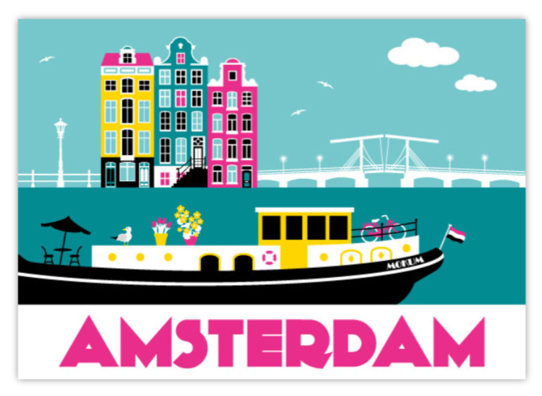 Postcard Amsterdam Houseboat Amstel River Skinny Bridge