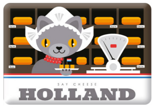 Magnet Holland Say Cheese Cat in Cheese Store