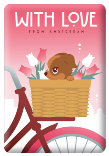 Magnet Amsterdam With Love Doggie Bicycle Basket with tulips