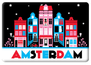 Magnet Amsterdam Canal Houses Red Black