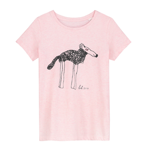 Lola Shepherd Doggie - Loenatix Ecocotton  Fairtrade Childrens T-shirt color Pink Animal Print T-shirt
