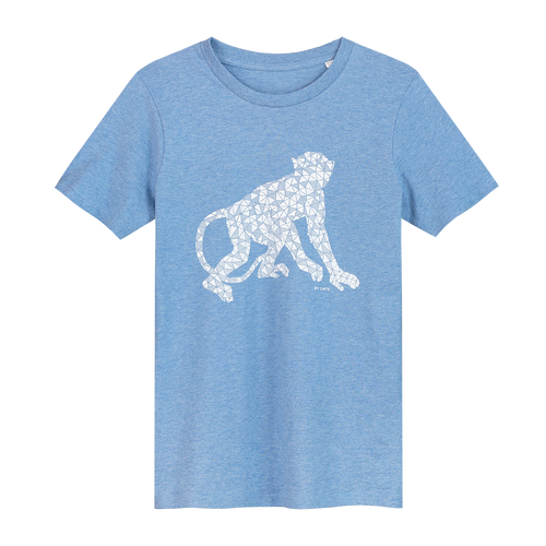 Monkey Pale Blue - Loenatix Organic Cotton Fairtrade Childrens T-shirt color Pale Blue