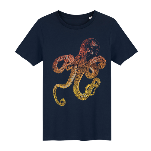 Octopus Navy Glow in the Dark - Loenatix Fairtrade Children's T-shirt Animal Print T-shirt color Navy