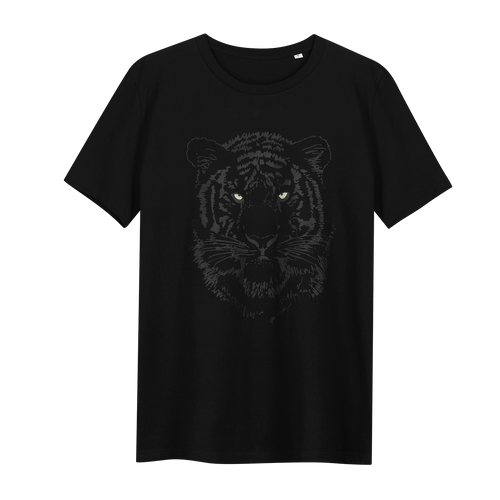 Tiger Black Glow in the Dark - Loenatix Ecocotton Children's T-shirt Animal Print T-shirt color Black